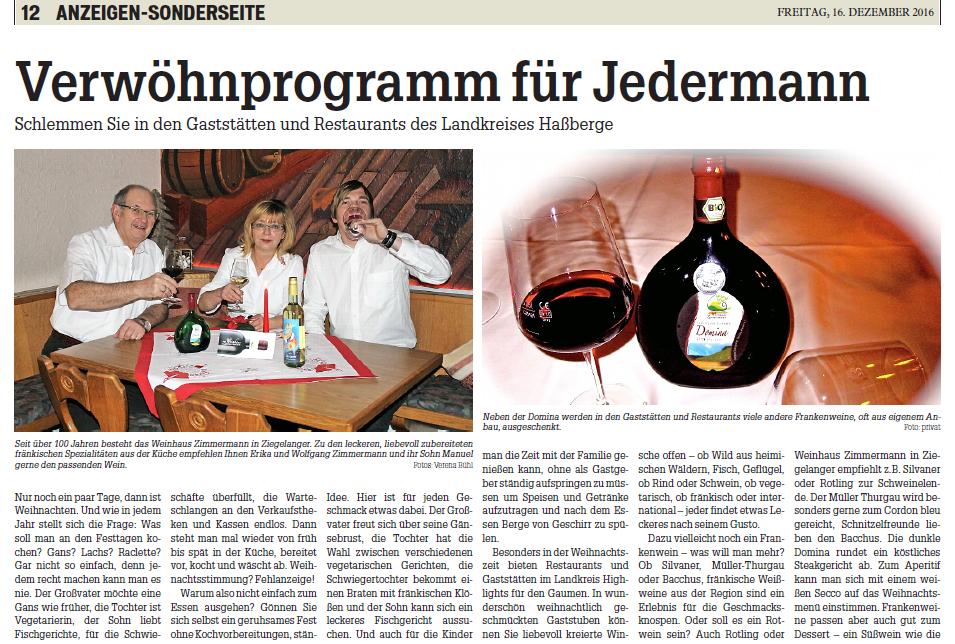 Das Weinhaus Zimmermann im Fränkischen Tag